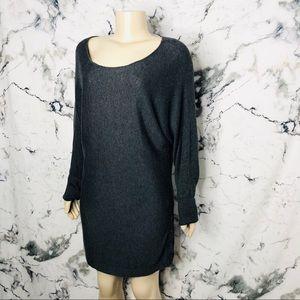 Reitmans Scoop Neck Sweater Dress Tunic Dark Grey